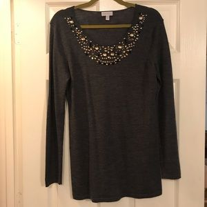 Maternity Gray Wool Sweater with Jeweled Neckline